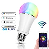 Smart Bulb, FEYG E27 Alexa Wifi Led Light Bulbs RGB Color Changing Dimmable Lamp ,Work with Alexa and Google Home,60W Equivalent, Timing Function, Remote Controlled by IOS/Android,No Hub Required (E27-1pack)