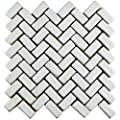 "SomerTile FDXCHBWH Adoquin Herringbone Ceramic Floor and Wall Tile, 11"" x 11.5"", White"
