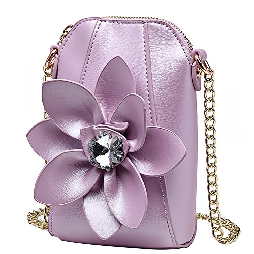 Cozywind Small Crossbody Purse Women Cellphone Pouch Leather Shoulder Bag Flower Flower Purple