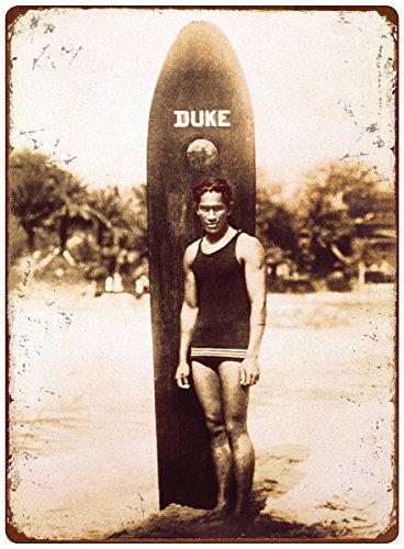 Hawaii Tin Sign (12in x 16in Vintage Hawaiian Tin Sign - Duke Kahanamoku)