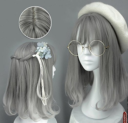 [Jooyi® Japan Harajuku Anime Fashion Lolita Two Tone Grey Ombre Straight Wig Lace Front Korean Style Make The Face Look Smaller Hair] (Lavender Marie Antoinette Wig)