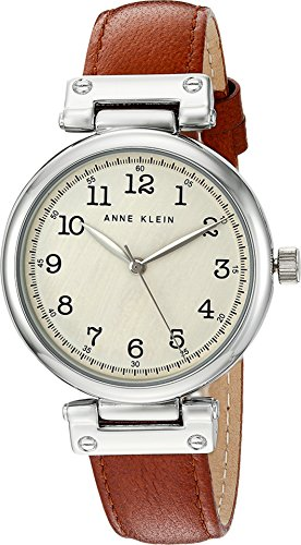 Anne Klein Women's AK/2253CRRU Easy To Read Silver-Tone and Rust Colored Leather Strap Watch