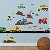 Create-A-Mural : Construction Wall Decals ~Trucks & Vehicles Peel n' Stick