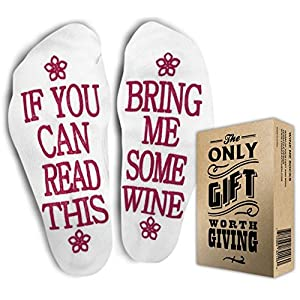 """WINE SOCKS + Gift Box """"If you can read this bring me some wine"""