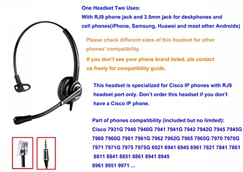 Cisco Headset Telephone Headset RJ9 with Noise Cancelling