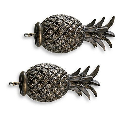 Cambria Complete Matte Brown Pineapple Finials (Set of 2)