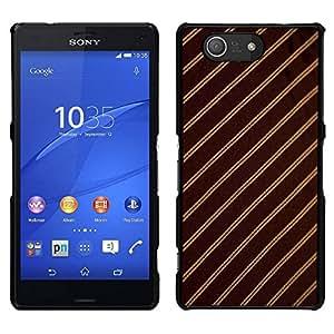 YiPhone /// Prima de resorte delgada de la cubierta del caso de Shell Armor - Patrón de rayas Tejido Diseño Textil de Brown - Sony Xperia Z3 Compact