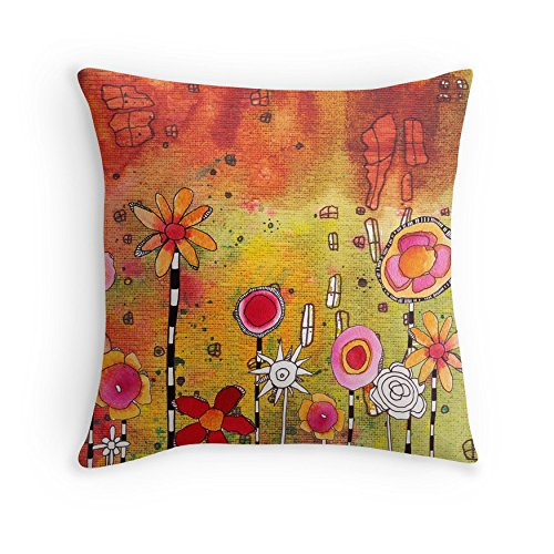 Unique abstract art throw pillow. 'Garden Party' decorative pillow cushion original mixed media art by C.Cambrea. Original home decor accessories.