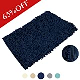 H.Versailtex Fuzzy Soft Bath Mat, Durable Non Slip Bath Rugs,Thick U0026 Soft,  Plush Underfoot Toilet Floor Rug, Navy, 20 By 32   Inch