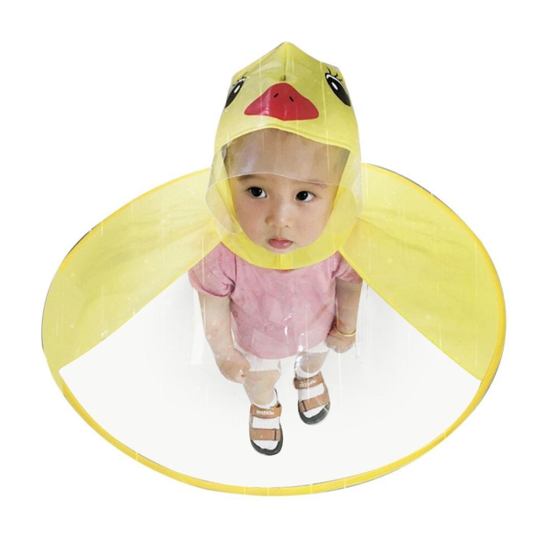 XILALU Kids UFO Raincoat, Windproof & Waterproof Foldable Cute Transparent Cartoon Duck Hands Free Umbrella Hat Funny Rain Coat-Scratch Resist (Yellow, Child S)
