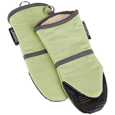 Cuisinart Silicone Oven Mitts - Heat Resistant up to 500 degrees F Handle Hot Cooking Items Safely - Non-Slip Grip Oven Gloves with Soft Insulated Deep Pockets and Convenient Hanging Loop - Green, 2pk
