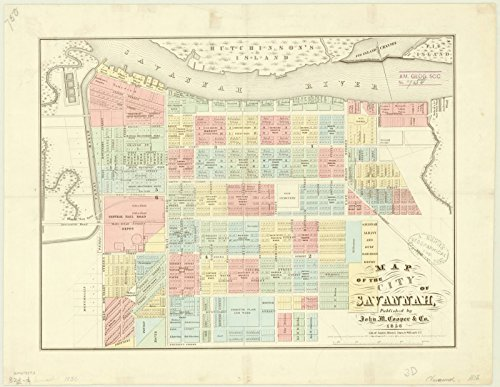 Historic Map | Savannah, Georgia 1856 | Map of The City of Savannah | Antique Vintage Reproduction 24in x 18in