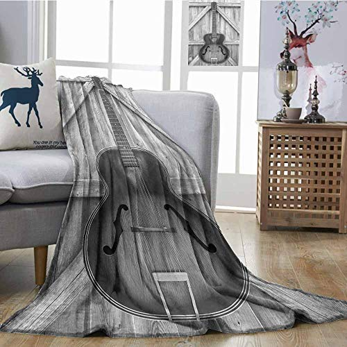 SONGDAYONE Reversible Blanket Vintage Acoustic Instrument Guitar Hanged on Old Wooden Door Fences Country Ranch Warm All Season Blanket for W54 xL72 Grey Black