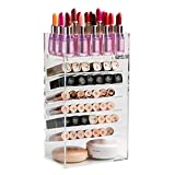 XL®Premium Acrylic Lipstick Tower Organizer with Removable Top Dividers Beauty Storage Rack (Clear)