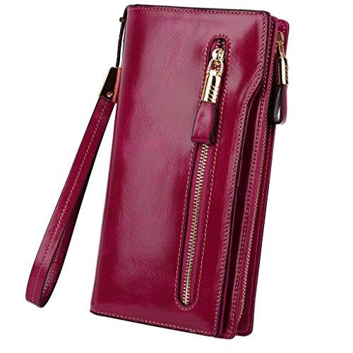 YALUXE Womens Capacity Leather Wristlet