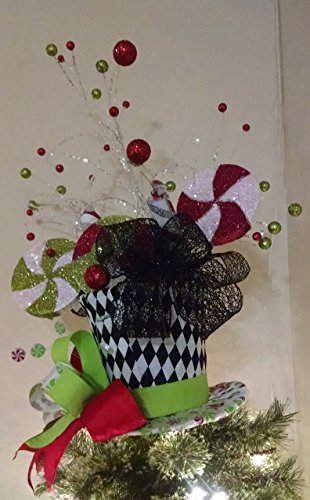 top hat tree topper christmas tree topper peppermint candy top hat tree topper top hat tree topper christmas decoration - Peppermint Christmas Tree