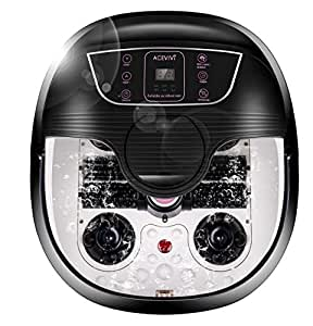 ACEVIVI Foot Spa Bath Massager with Massage Rollers and Balls(Motorized) for Health and Cleaning, Feet Bath Tub with Heat and Bubbles, Temp+/-, Timer, and Modes Control, Rotating Pedicure Stone