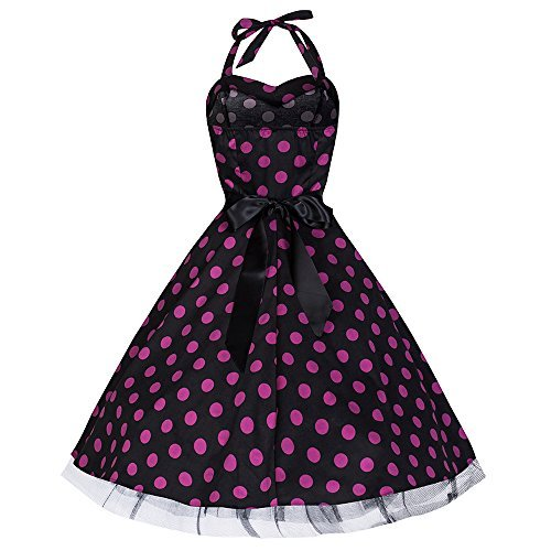 Pretty Kitty Fashion - Robe -  - À pois Femme Noir black purple polka dot
