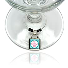 It's A Girl Baby Wine Glass Drink Marker Charm Ring