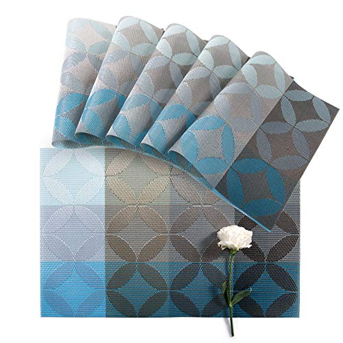Florica Placemats Set of 6, PVC Woven Non-Slip Insulation Mat for Dining Table, Heat-Resistant Floral Weave Table Mats for Present 12 x 18 inch (Diamond Flower Blue)