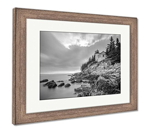 Ashley Framed Prints Bass Harbor Head Light Acadia National Park Maine, Wall Art Home Decoration, Black/White, 34x40 (frame size), Rustic Barn Wood Frame, AG6253024