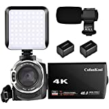 CofunKool 4K Video Camera 48MP Ultra HD 3.0 IPS Camcorder with External Microphone LED Light