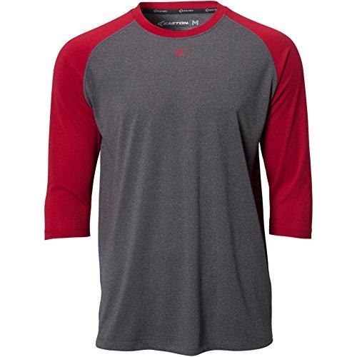 Easton Mens 3/4 Sleeve Raglan Crew Shirt Grey/Red S