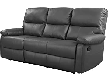 Sofá reclinable 3 plazas Lincoln - Color gris: Amazon.es: Jardín