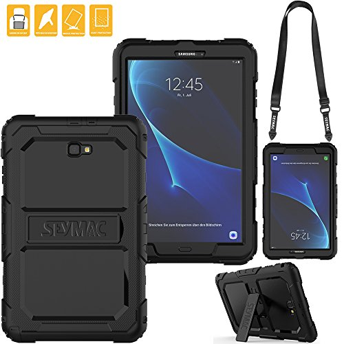SEYMAC for Samsung Galaxy Tab A 10.1 Case, Three Layer Heavy Duty Soft Silicone Bumper Shockproof Protective case with [Kickstand ][Shoulder Strap] for Samsung Galaxy Tab A6 10.1
