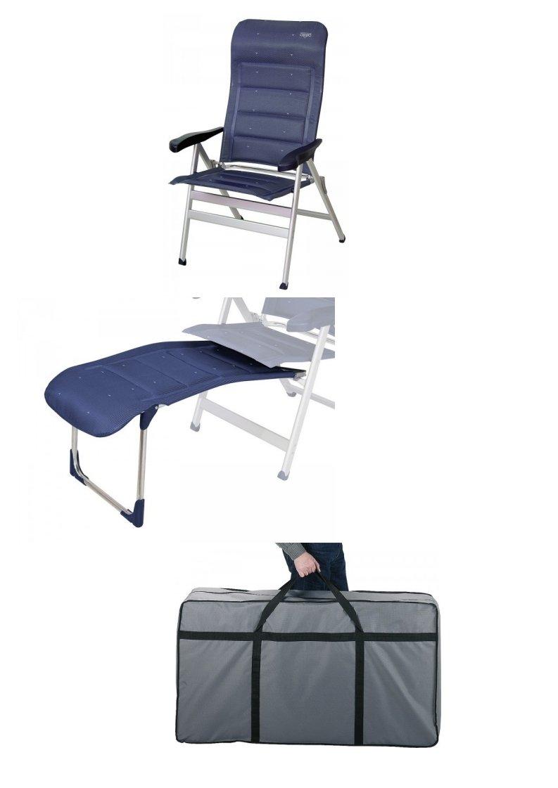 Crespo EXKLUSIVER - Blauer XXL - Deluxe gepolsterter Stuhl MIT BEINAUFLAGE + Tragetasche - Vertrieb durch Holly Produkte STABIELO