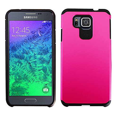 Galaxy Alpha Case, Dual Layer Armor Protector Case For Samsung Galaxy Alpha G850 (AT&T/T-Mobile/Verizon/Sprint), Bouns 1x Stylus Pen (Pink)