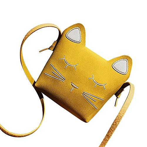 Girls' Cute Kitty Purse Crossbody Shoulder Bags Hosamtel PU Leather Cat Ear Bag (Yellow)
