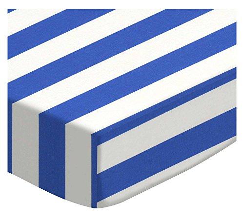 SheetWorld Fitted Portable Mini Crib Sheet - Royal Blue Stripe - Made in USA by SHEETWORLD.COM