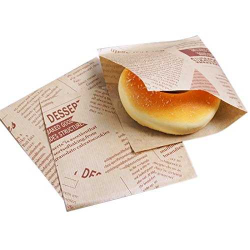 SODIAL 100pcs 12x12cm Sandwich Donut Bread Bag Biscuits Doughnut Paper Bags Oilproof Bread Craft Bakery Food Packing Kraft