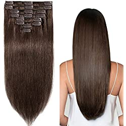 20 inch 105g Clip in Remy Human Hair Extensions Full Head 8 Pieces Set Long length Straight Very Soft Style Real Silky for Beauty #4 Medium Brown