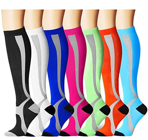 Bluemaple Compression Socks,(7pair) Compression Sock for Women & Men - Best for Running, Athletic Sports, Crossfit, Flight Travel - Maternity Pregnancy, Shin Splints - Below Knee High