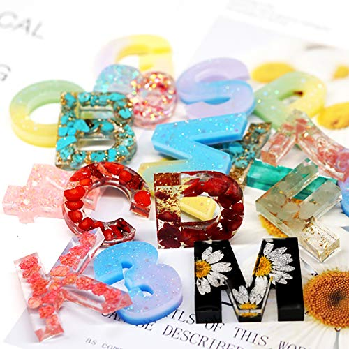 Alphabet Number Resin Molds Set SWBONBON Molds Letter Backwards Epoxy Resin Casting with Silicone Sheets and Accessories, Tools Durable for Making Jewelry Pendant and DIY Craft Keychain