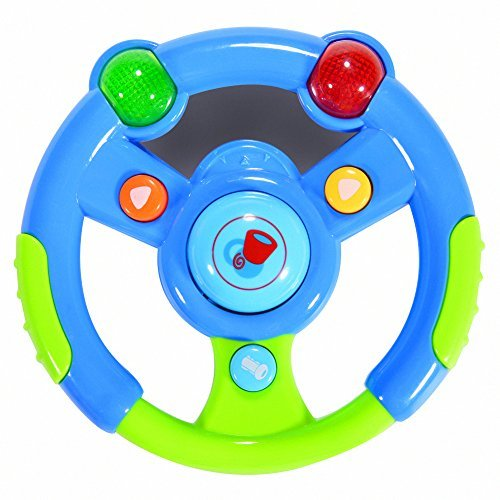 FunsLane Musical Steering Wheel Toys for Toddlers with Light