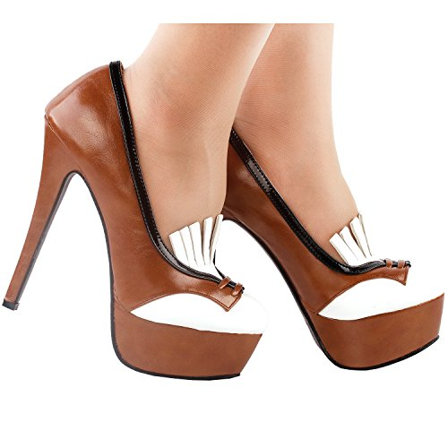 Brown High Story Heel Retro Tassel Black Brown Stiletto Pumps Show LF80860 Platform White aRq7wxY