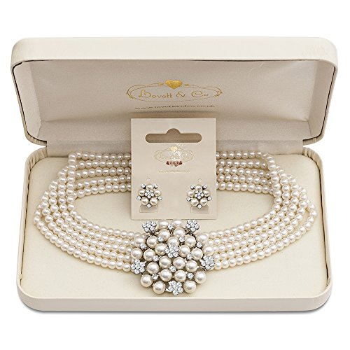 Audrey Necklace & Audrey Pearl Stud Earring with Gift - Logo & Tiffany Co