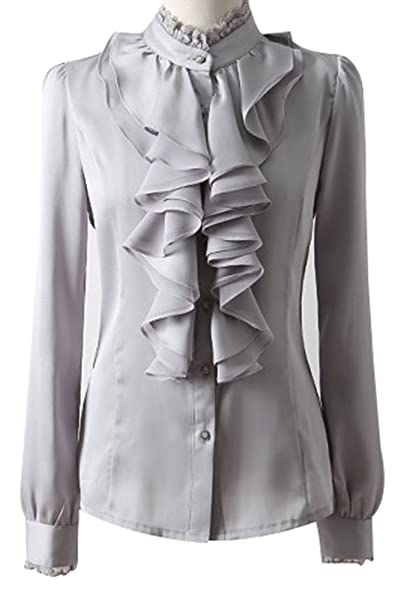 Yasong Women Ladies Long Sleeve Formal Top Work Blouse Frill Ruffle Blouse   Amazon.co.uk  Clothing c61d99290
