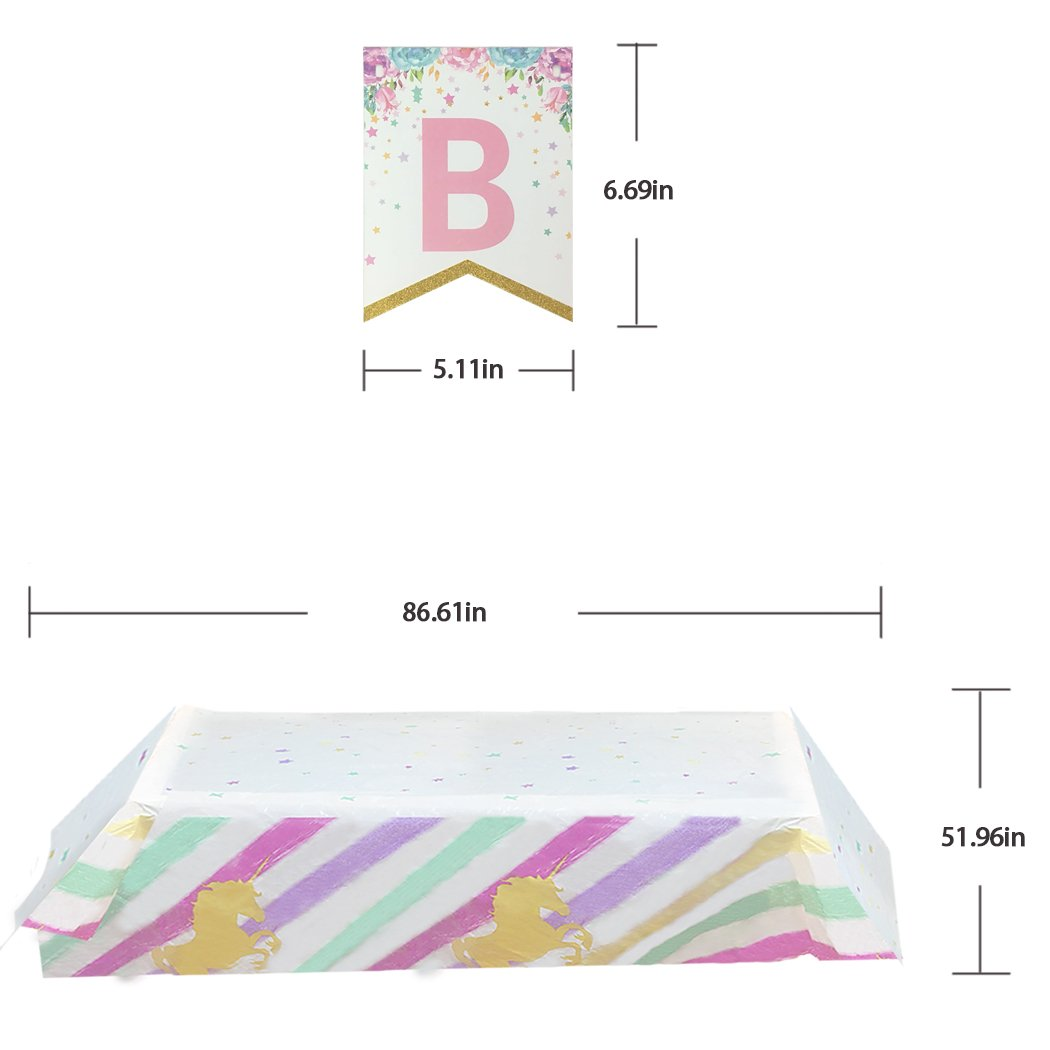 Tuoyi Happy Birthday Decorations Unicorn Party Supplies 1 Pack Unicorn Birthday Banner and 2 Pack Unicorn Plastic Tablecovers for Rainbow Unicorn Birthday Party Favors