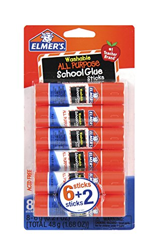 Stick School (Elmer's All Purpose School Glue Sticks, Washable, 6g, 8 Count (E5004))