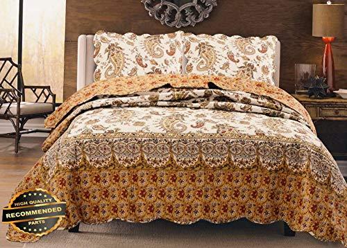 (Werrox Renaissance Paisley 100% Cotton Quilt Set,Bedspread, Coverlet Full/Queen Size | Quilt Style QLTR-291267875)