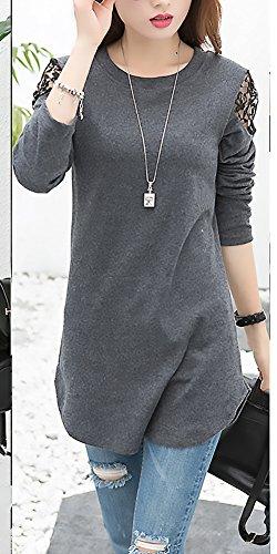 Maglietta Camicia Chic Blusa Collo Prodotto Ragazza Casual Abbigliamento Pizzo Camicetta Rotondo Grigio Plus Monocromo A Cucitura Fashion Donna Eleganti Maniche Baggy Lunghe Autunno 7w7zqrpx