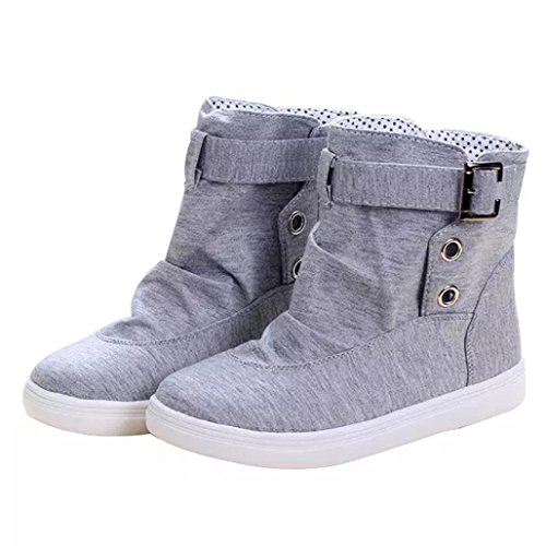 Womens Winter Boots, Egmy Womens Ankle Boots Flats With Buckle Lace-Up Fashion Canvas Martin Boots Gray
