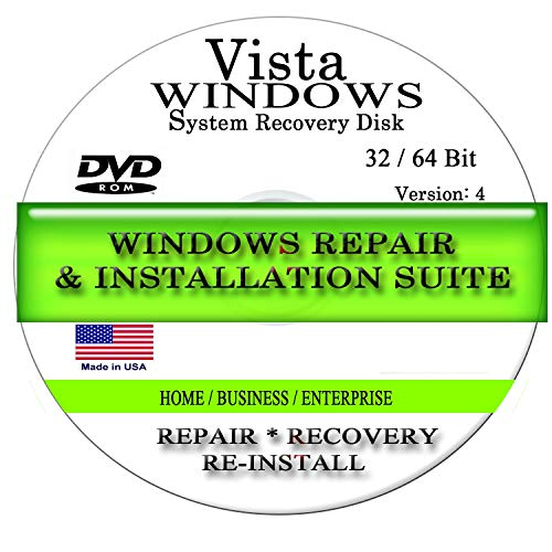 NEW WINDOWS VISTA * 2018 * ANY Version of 32 Bit and 64 Bit Home Basic, Home Premium, Professional, or Ultimate, Repair, Recovery, Restore, Re Install, Reinstall, Re-install & Reboot Fix Boot Disk DVD (Upgrade Windows 7 Home Basic To Professional)