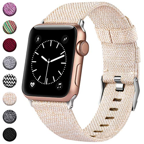 Haveda Bands Compatible with Apple Watch 44mm Series 4 42mm Series 3/2/1, Woven Fabric Canvas Wrist Band for Women Men with iWatch, Apricot