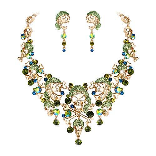 EVER FAITH Gold-Tone Skull Bone Cross Necklace Earrings Set Green Austrian Crystal Halloween