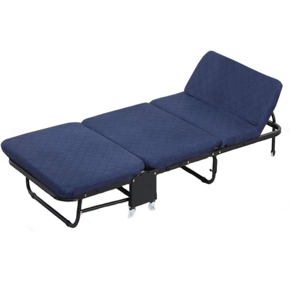 ICampingbed Klappbett mit bequemer Memory Foam-Matratze, Rollbett-Gästebett, tragbar, leicht zu montieren (Color : Breathable Blue, Size : Medium 65CM)